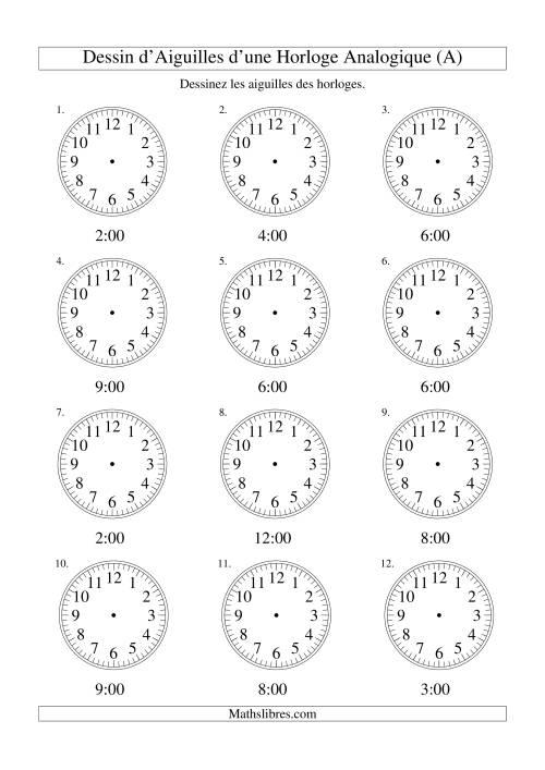 La Dessin d'Aiguiles sur Une Horloge Analogique avec 60 Minutes d'Intervalle (A) Fiche d'Exercices sur le Temps