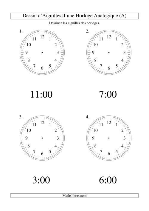 La Dessin d'Aiguiles sur Une Horloge Analogique avec 60 Minutes d'Intervalle (Grand Format) Fiche d'Exercices sur le Temps