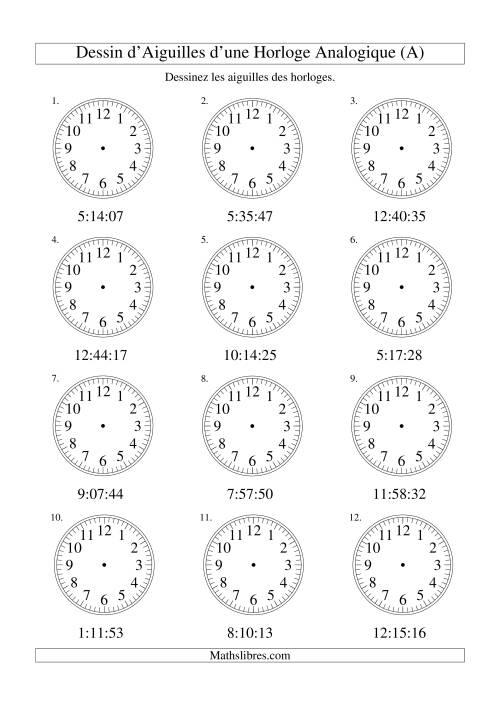 La Dessin d'Aiguiles sur Une Horloge Analogique avec 1 Seconde d'Intervalle (A) Fiche d'Exercices sur le Temps