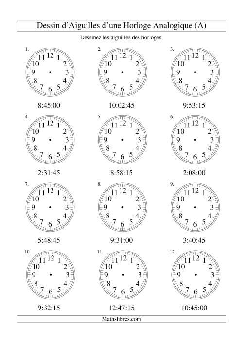 La Dessin d'Aiguiles sur Une Horloge Analogique avec 15 Secondes d'Intervalle (A) Fiche d'Exercices sur le Temps