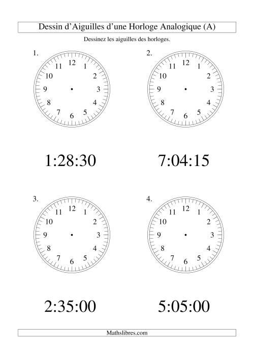 La Dessin d'Aiguiles sur Une Horloge Analogique avec 15 Secondes d'Intervalle (Grand Format) Fiche d'Exercices sur le Temps