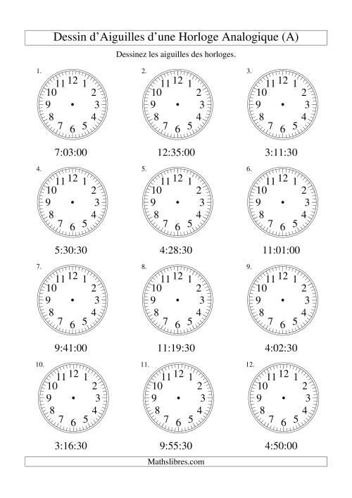 La Dessin d'Aiguiles sur Une Horloge Analogique avec 30 Secondes d'Intervalle (A) Fiche d'Exercices sur le Temps