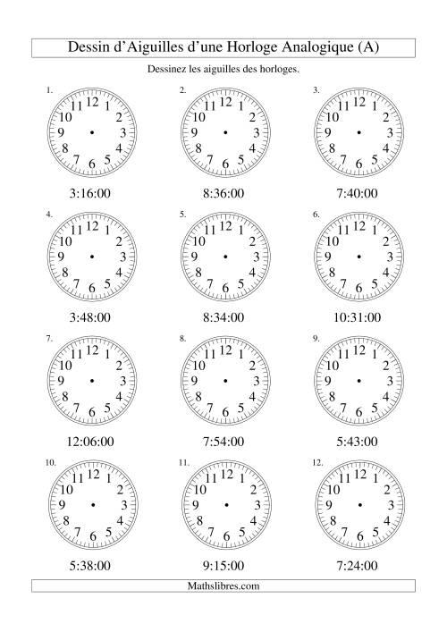La Dessin d'Aiguiles sur Une Horloge Analogique avec 60 Secondes d'Intervalle (A) Fiche d'Exercices sur le Temps
