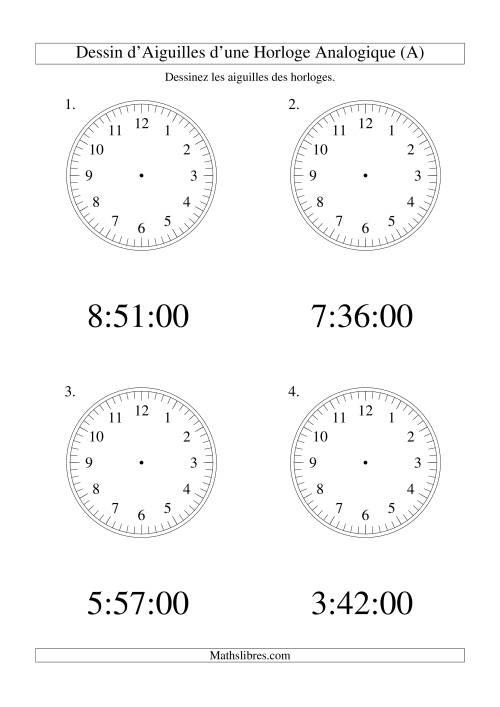 La Dessin d'Aiguiles sur Une Horloge Analogique avec 60 Secondes d'Intervalle (Grand Format) Fiche d'Exercices sur le Temps