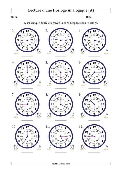 Lecture de l'Heure sur Une Horloge Analogique avec 15