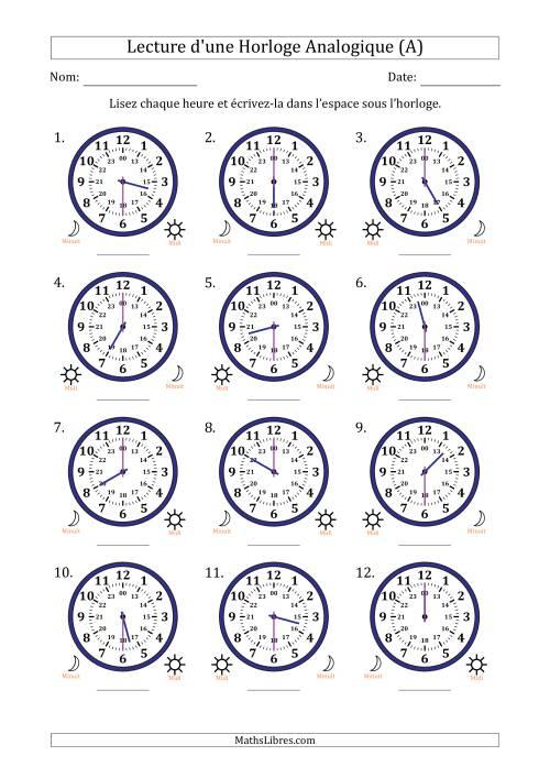 La Lecture de l'Heure sur Une Horloge Analogique avec 30 Minutes d'Intervalle (12 Horloges) (A) Fiche d'Exercices sur la Mesure de Temps