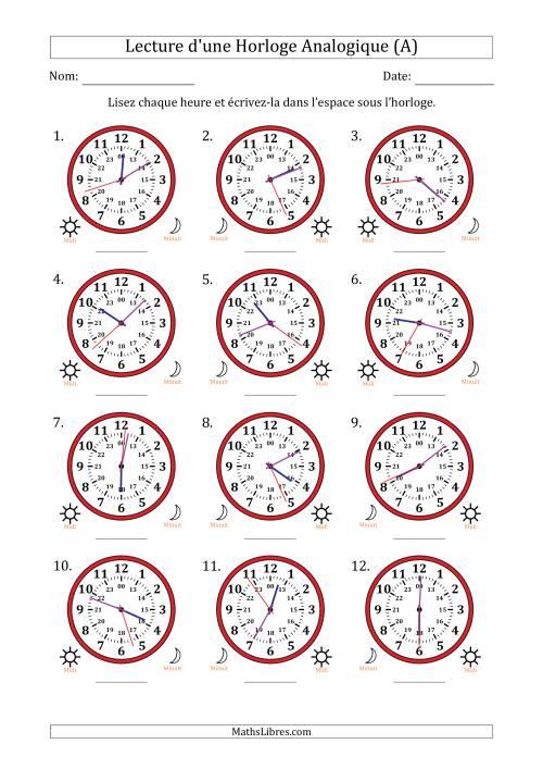 La Lecture de l'Heure sur Une Horloge Analogique avec 1 Minute & Seconde d'Intervalle (12 Horloges) (A) Fiche d'Exercices sur la Mesure de Temps