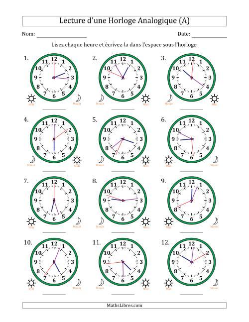 La Lecture de l'Heure sur Une Horloge Analogique avec 1 Minute  Seconde d'Intervalle (12 Horloges) (A) Fiche d'Exercices sur la Mesure de Temps