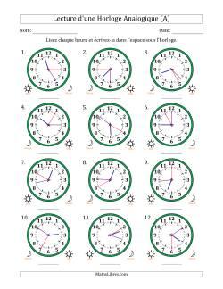 Lecture de l'Heure sur Une Horloge Analogique avec 5 Minutes & Secondes d'Intervalle (12 Horloges) (A)