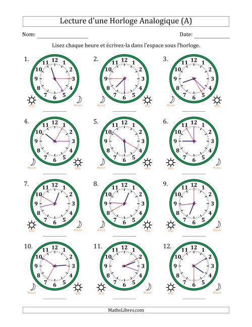 La Lecture de l'Heure sur Une Horloge Analogique avec 5 Minutes & Secondes d'Intervalle (12 Horloges) (A) Fiche d'Exercices sur la Mesure de Temps