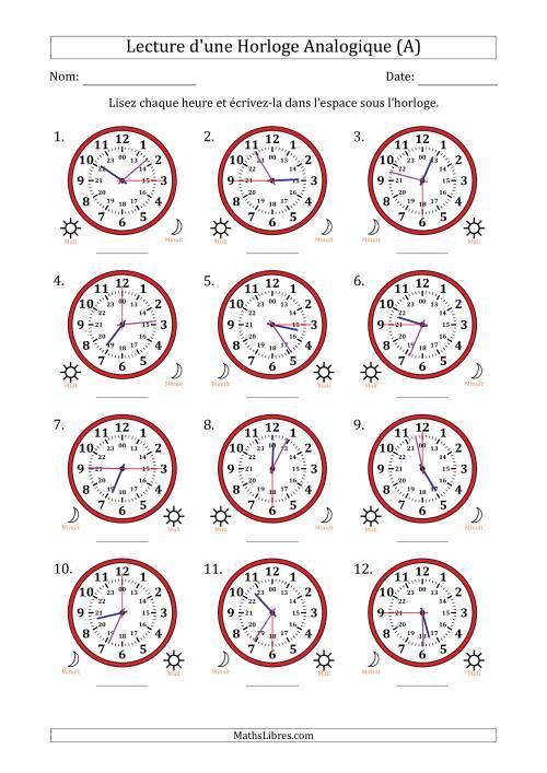 La Lecture de l'Heure sur Une Horloge Analogique avec 15 Minutes  & Secondes d'Intervalle (12 Horloges) (A) Fiche d'Exercices sur la Mesure de Temps
