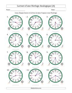 Lecture de l'Heure sur Une Horloge Analogique avec 15 Minutes & Secondes d'Intervalle (12 Horloges) (A)