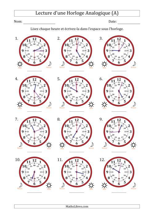 La Lecture de l'Heure sur Une Horloge Analogique avec 30 Minutes  & Secondes d'Intervalle (12 Horloges) (A) Fiche d'Exercices sur la Mesure de Temps