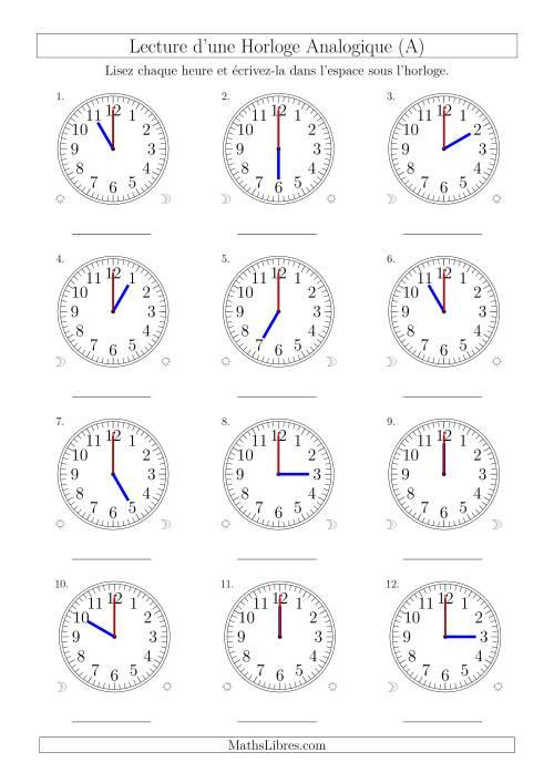 La Lecture de l'Heure sur Une Horloge Analogique avec 60 Minutes & Secondes d'Intervalle (12 Horloges) (A) Fiche d'Exercices sur la Mesure de Temps