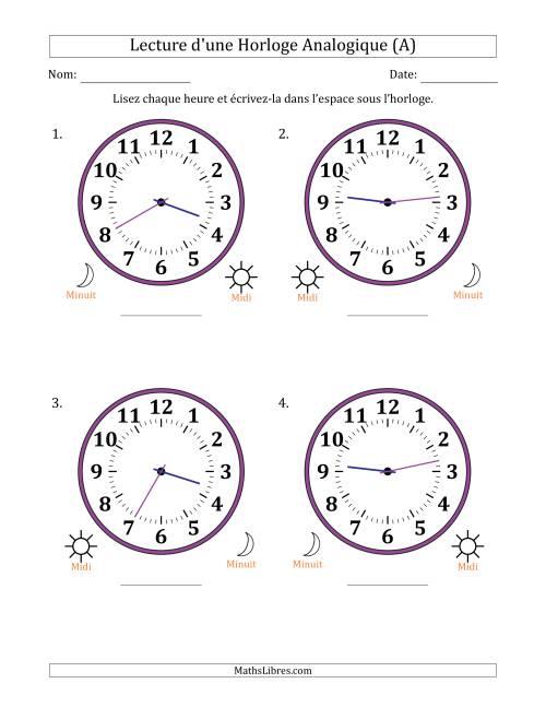 La Lecture de l'Heure sur Une Horloge Analogique avec 1 Minute d'Intervalle (4 Horloges) (A) Fiche d'Exercices sur la Mesure de Temps
