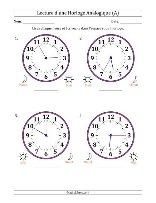 La Lecture de l'Heure sur Une Horloge Analogique avec 5 Minutes d'Intervalle (4 Horloges) (A) Fiche d'Exercices sur la Mesure de Temps