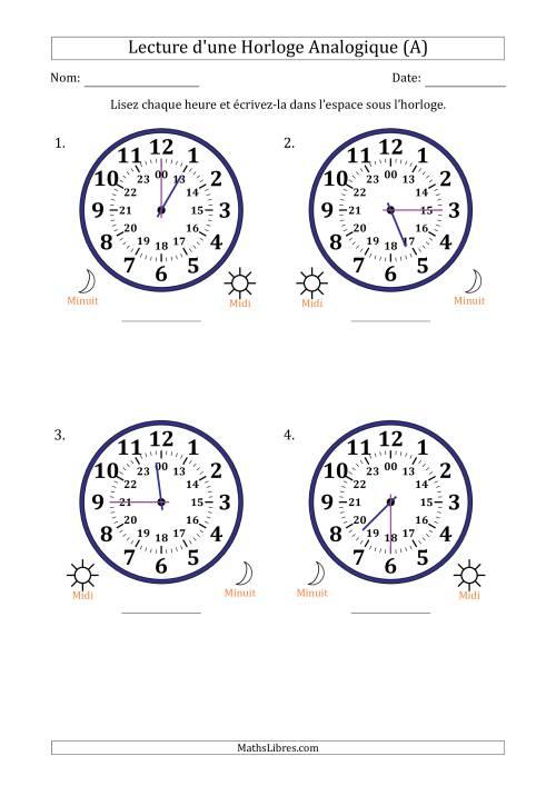 La Lecture de l'Heure sur Une Horloge Analogique avec 15 Minutes d'Intervalle (4 Horloges) (A) Fiche d'Exercices sur la Mesure de Temps