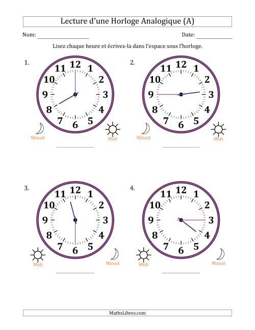 Lecture De L Heure Sur Une Horloge Analogique Utilisant Le Systeme Horaire Sur 12 Heures Avec
