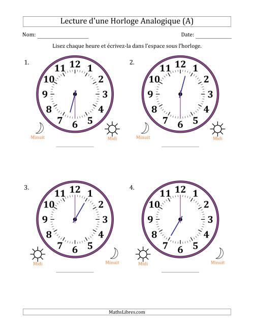 La Lecture de l'Heure sur Une Horloge Analogique avec 30 Minutes d'Intervalle (4 Horloges) (A) Fiche d'Exercices sur la Mesure de Temps