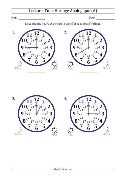 La Lecture de l'Heure sur Une Horloge Analogique avec 60 Minutes d'Intervalle (4 Horloges) (A) Fiche d'Exercices sur la Mesure de Temps
