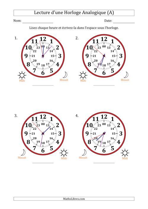 La Lecture de l'Heure sur Une Horloge Analogique avec 1 Minute  Seconde d'Intervalle (4 Horloges) (A) Fiche d'Exercices sur la Mesure de Temps