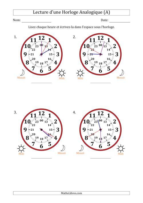 La Lecture de l'Heure sur Une Horloge Analogique avec 5 Minutes  & Secondes d'Intervalle (4 Horloges) (A) Fiche d'Exercices sur la Mesure de Temps