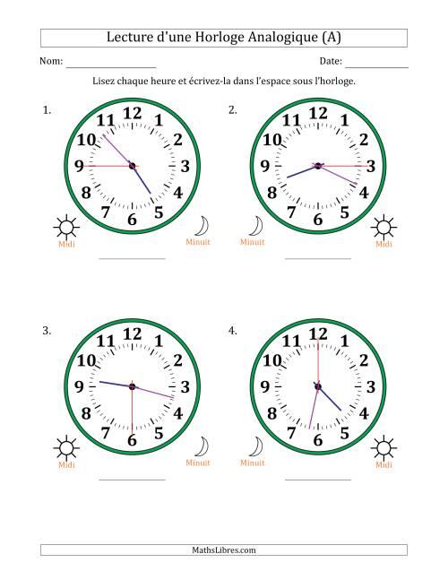 La Lecture de l'Heure sur Une Horloge Analogique avec 15 Minutes & Secondes d'Intervalle (4 Horloges) (A) Fiche d'Exercices sur la Mesure de Temps