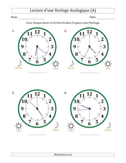 La Lecture de l'Heure sur Une Horloge Analogique avec 30 Minutes & Secondes d'Intervalle (4 Horloges) (A) Fiche d'Exercices sur la Mesure de Temps