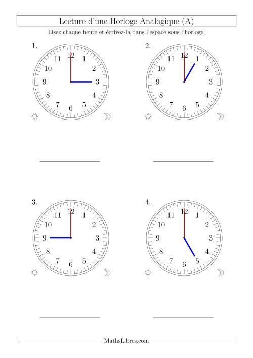 La Lecture de l'Heure sur Une Horloge Analogique avec 60 Minutes & Secondes d'Intervalle (4 Horloges) (A) Fiche d'Exercices sur la Mesure de Temps