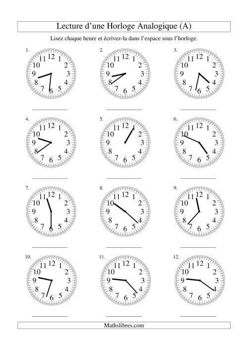 La Lecture de l'Heure sur Une Horloge Analogique avec 1 Minute d'Intervalle (A) Fiche d'Exercices sur le Temps
