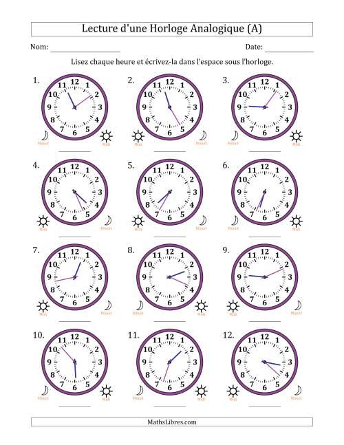 La Lecture de l'Heure sur Une Horloge Analogique avec 1 Minute d'Intervalle (12 Horloges) (A) Fiche d'Exercices sur la Mesure de Temps