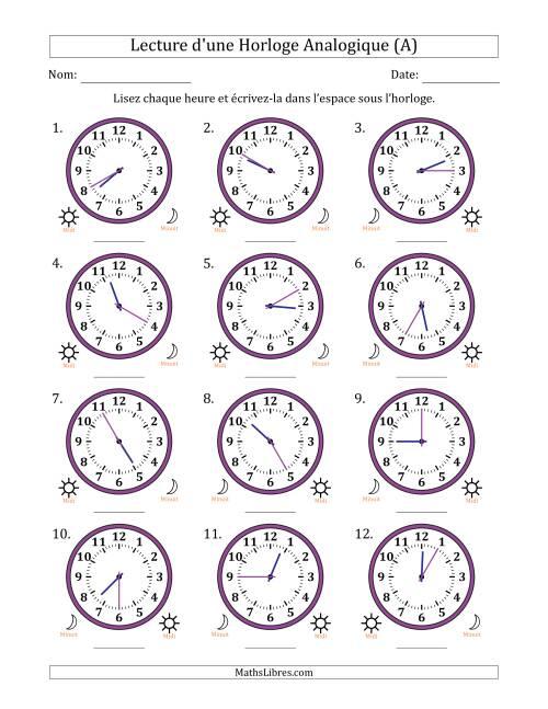 La Lecture de l'Heure sur Une Horloge Analogique avec 5 Minutes d'Intervalle (12 Horloges) (A) Fiche d'Exercices sur la Mesure de Temps