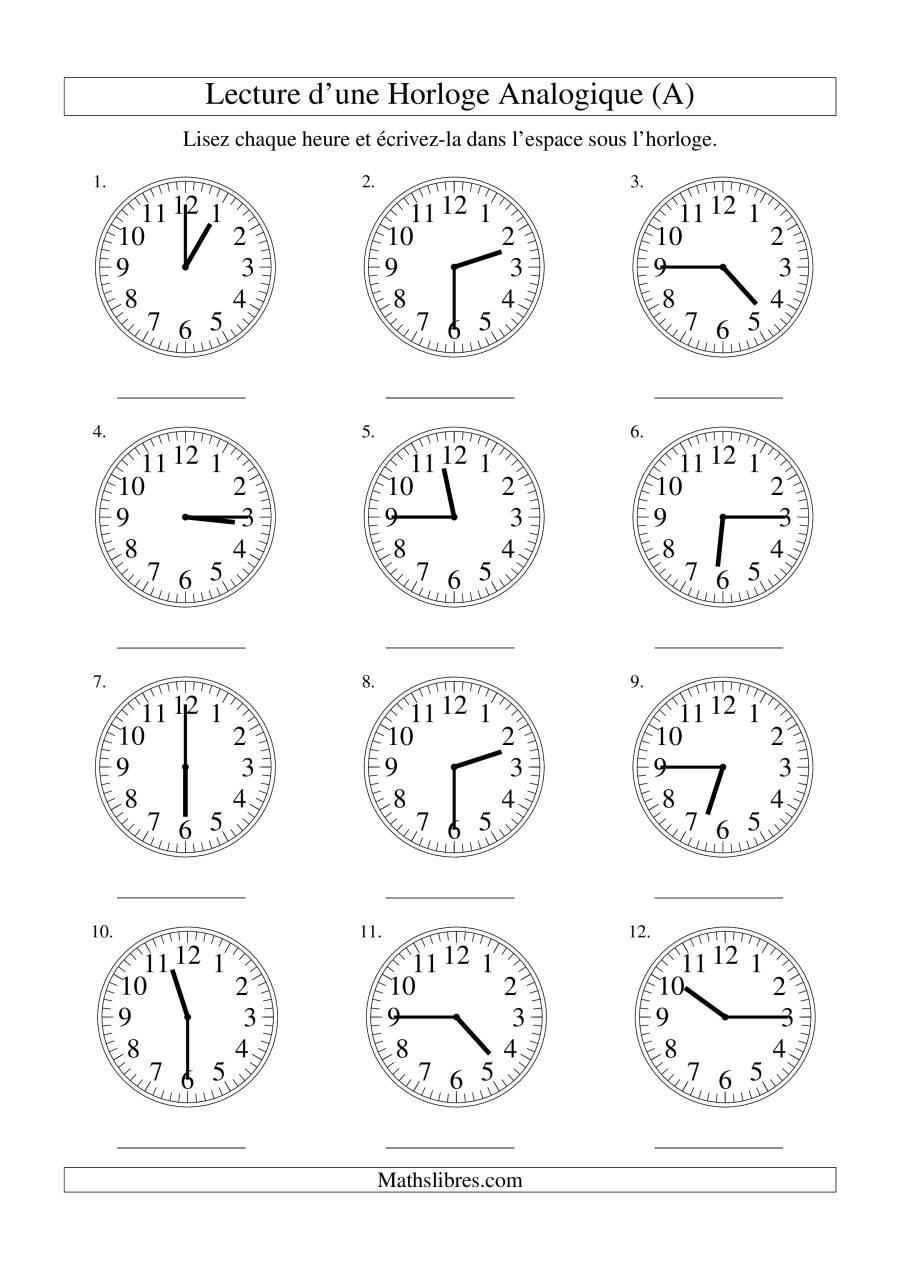 La Lecture de l'Heure sur Une Horloge Analogique avec 15 Minutes d'Intervalle (A) Fiche d'Exercices sur le Temps