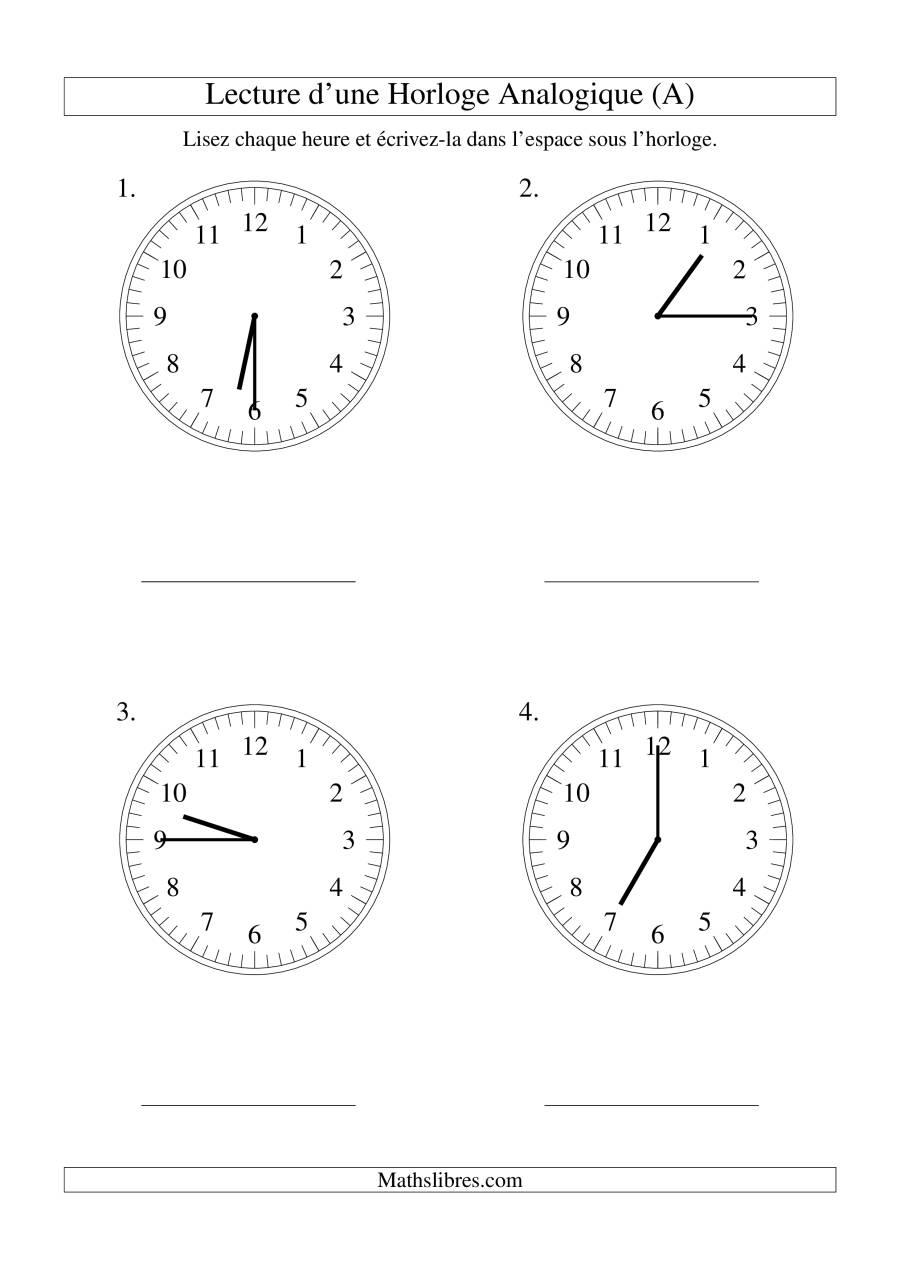 La Lecture de l'Heure sur Une Horloge Analogique avec 15 Minutes d'Intervalle (Grand Format) Fiche d'Exercices sur le Temps