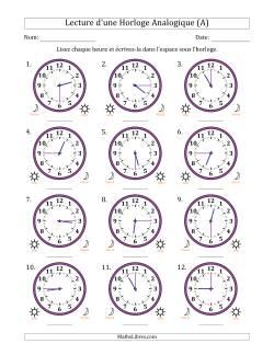 Lecture de l'Heure sur Une Horloge Analogique avec 15 Minutes d'Intervalle (12 Horloges) (A)