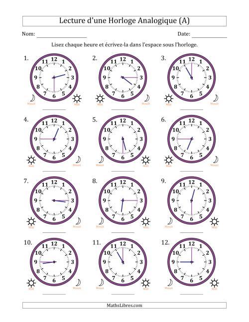 La Lecture de l'Heure sur Une Horloge Analogique avec 15 Minutes d'Intervalle (12 Horloges) (A) Fiche d'Exercices sur la Mesure de Temps