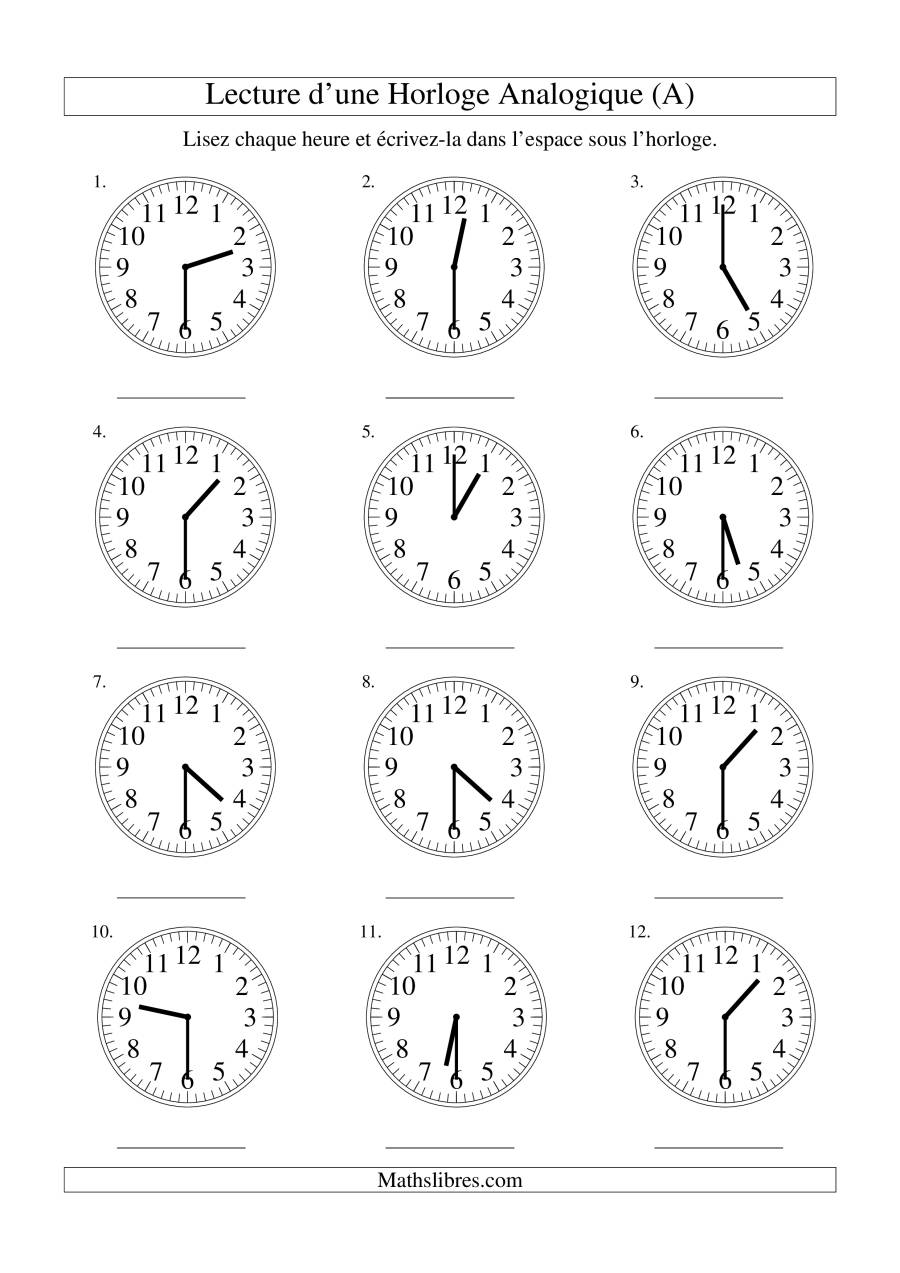 La Lecture de l'Heure sur Une Horloge Analogique avec 30 Minutes d'Intervalle (A) Fiche d'Exercices sur le Temps