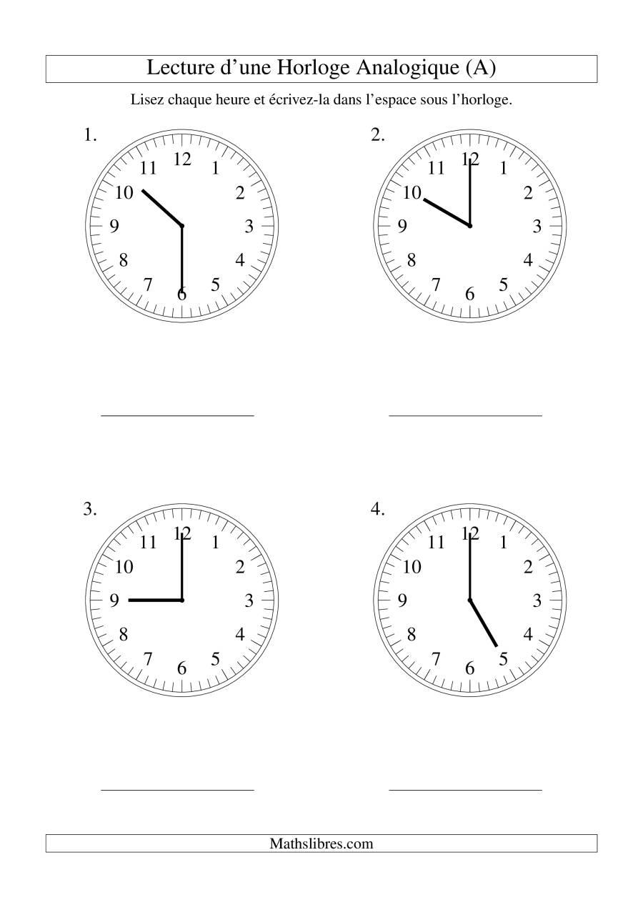La Lecture de l'Heure sur Une Horloge Analogique avec 30 Minutes d'Intervalle (Grand Format) Fiche d'Exercices sur le Temps