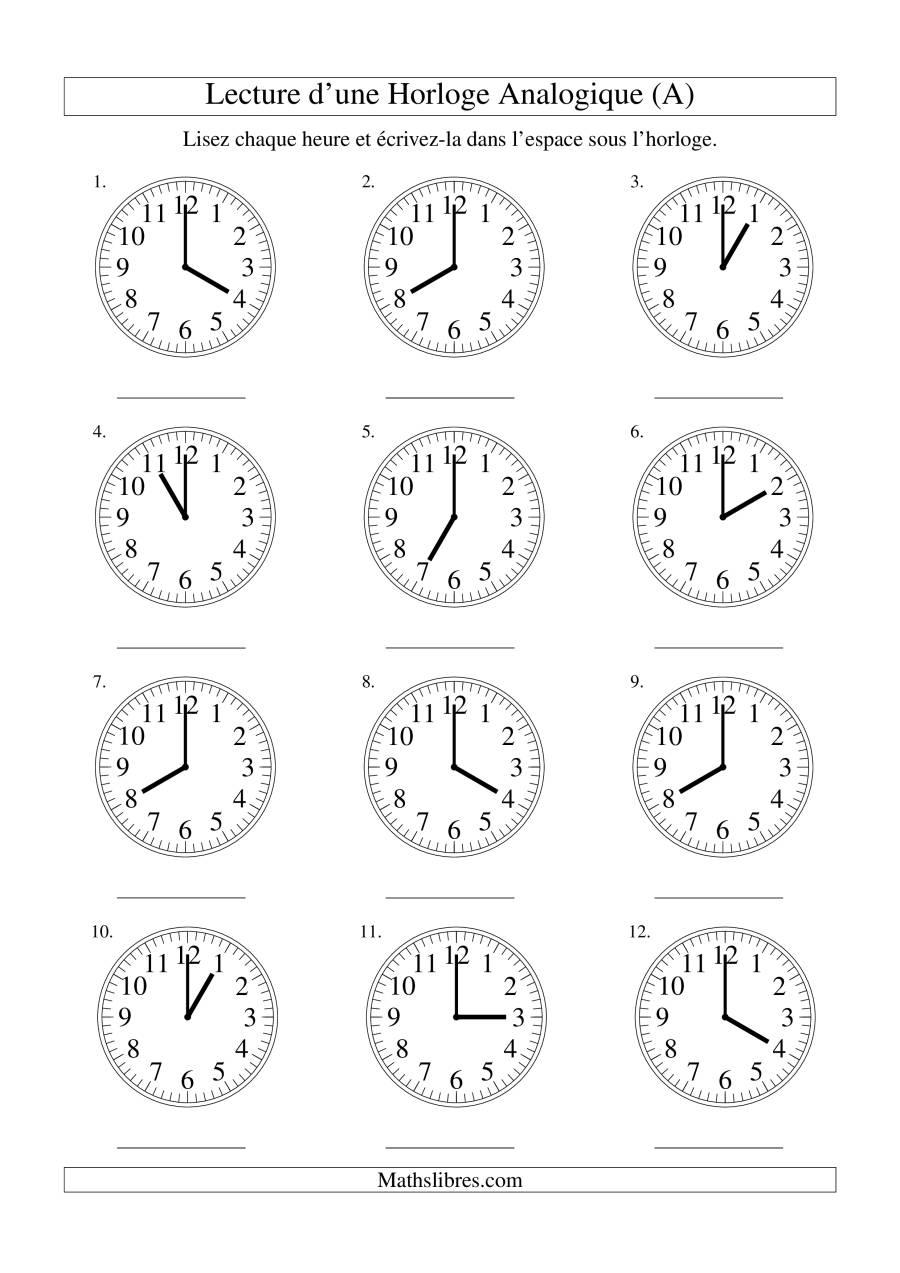 La Lecture de l'Heure sur Une Horloge Analogique avec 60 Minutes d'Intervalle (A) Fiche d'Exercices sur le Temps