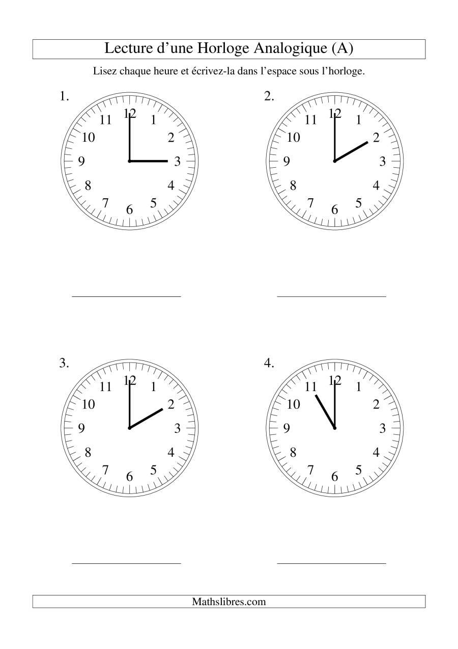La Lecture de l'Heure sur Une Horloge Analogique avec 60 Minutes d'Intervalle (Grand Format) Fiche d'Exercices sur le Temps