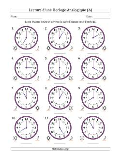 Lecture de l'Heure sur Une Horloge Analogique avec 60 Minutes d'Intervalle (12 Horloges) (A)