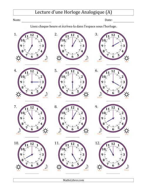 La Lecture de l'Heure sur Une Horloge Analogique avec 60 Minutes d'Intervalle (12 Horloges) (A) Fiche d'Exercices sur la Mesure de Temps