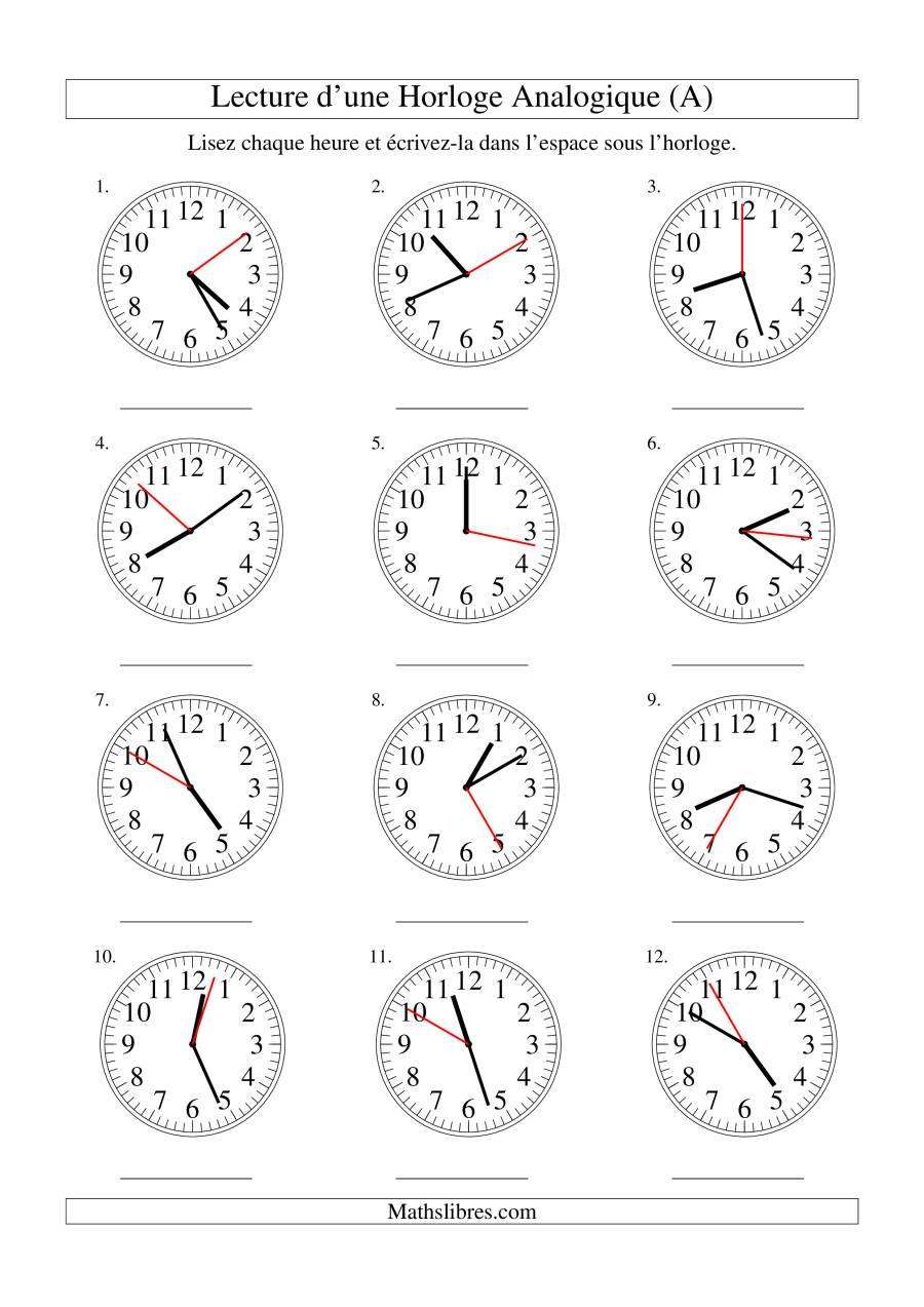 La Lecture de l'Heure sur Une Horloge Analogique avec 1 Seconde d'Intervalle (A) Fiche d'Exercices sur le Temps