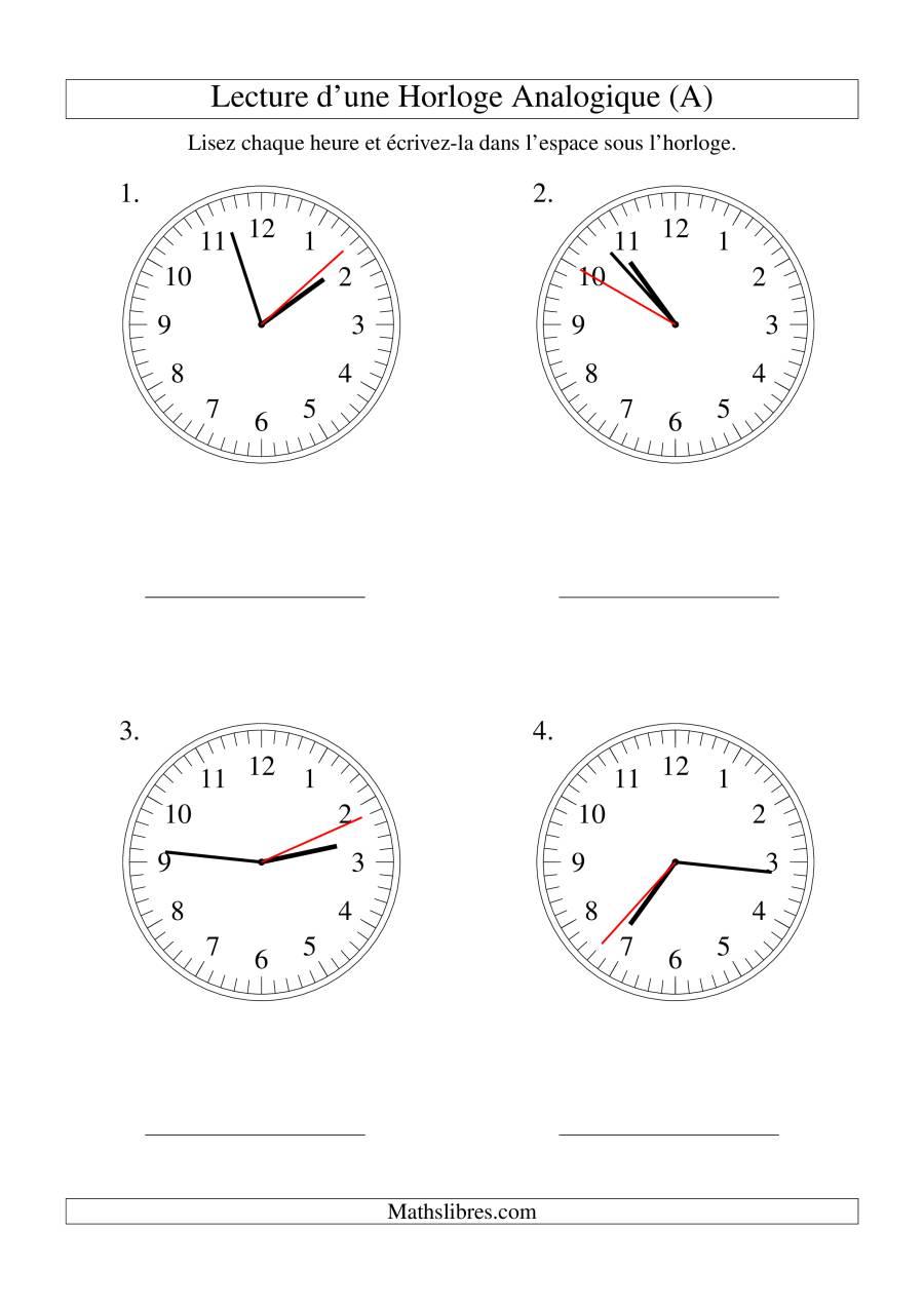 La Lecture de l'Heure sur Une Horloge Analogique avec 1 Seconde d'Intervalle (Grand Format) Fiche d'Exercices sur le Temps
