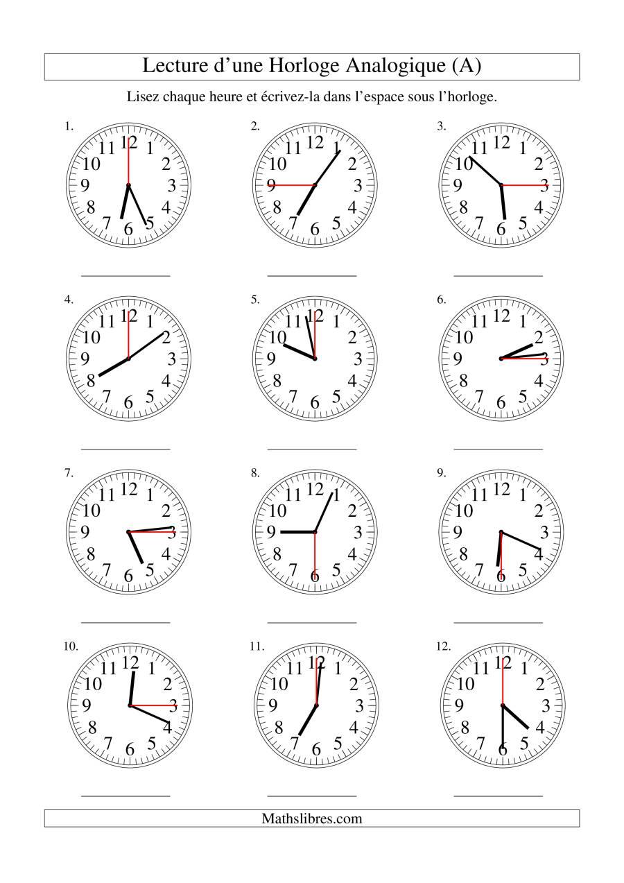 La Lecture de l'Heure sur Une Horloge Analogique avec 15 Secondes d'Intervalle (A) Fiche d'Exercices sur le Temps