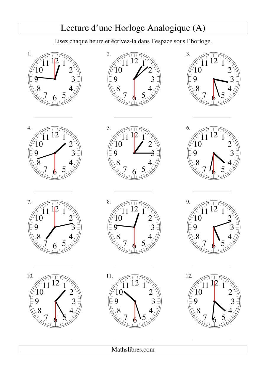 La Lecture de l'Heure sur Une Horloge Analogique avec 30 Secondes d'Intervalle (A) Fiche d'Exercices sur le Temps
