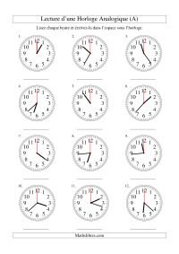 Lecture de l'Heure sur Une Horloge Analogique avec 60 Secondes d'Intervalle (A)