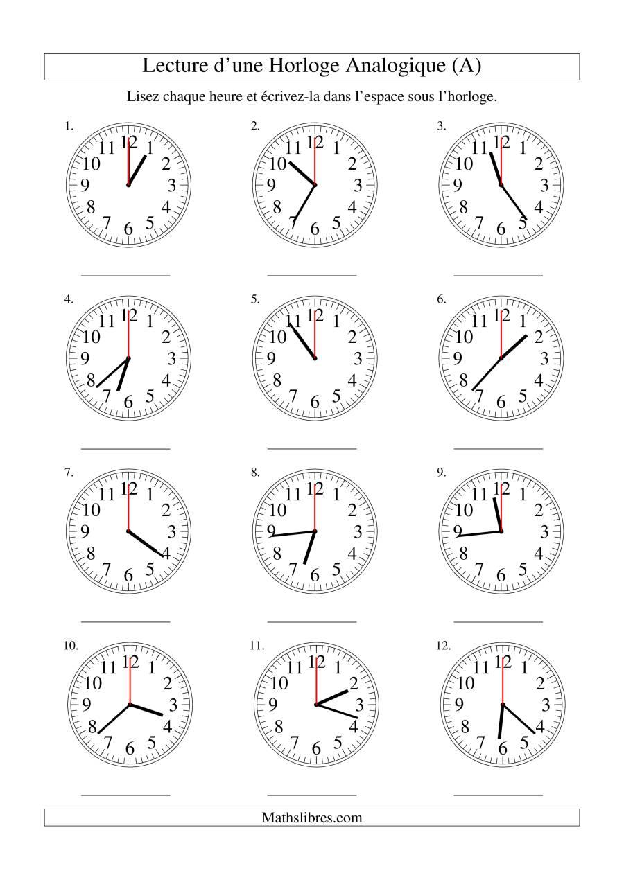 La Lecture de l'Heure sur Une Horloge Analogique avec 60 Secondes d'Intervalle (A) Fiche d'Exercices sur le Temps