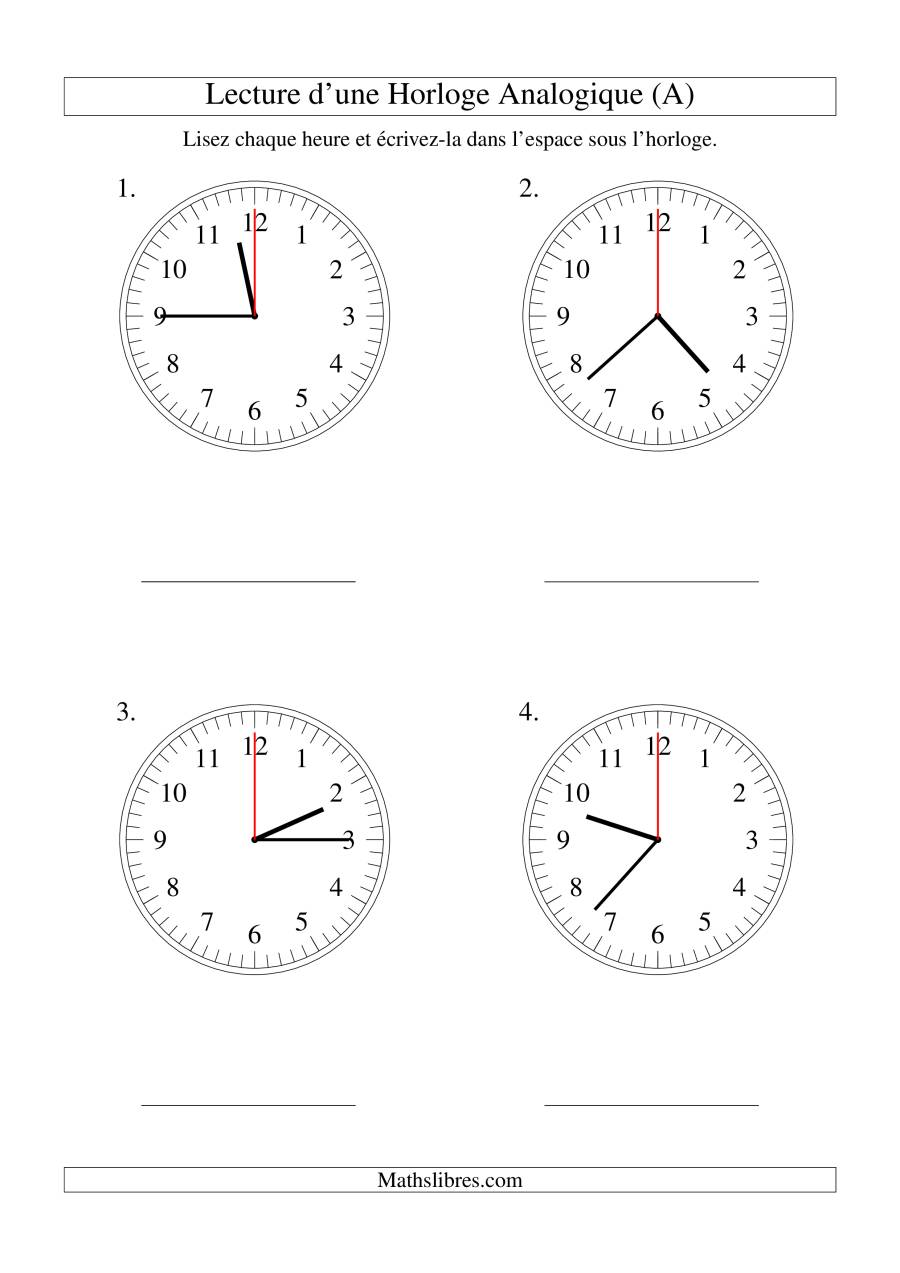 La Lecture de l'Heure sur Une Horloge Analogique avec 60 Secondes d'Intervalle (Grand Format) Fiche d'Exercices sur le Temps