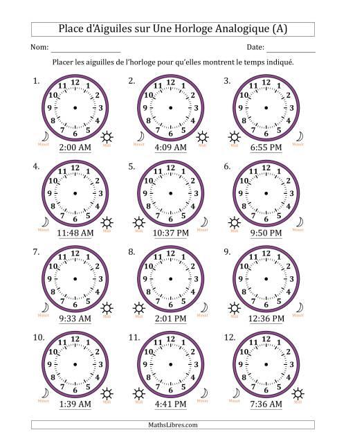 La Place d'Aiguiles sur Une Horloge Analogique avec 1 Minute d'Intervalle (12 Horloges) (A) Fiche d'Exercices sur la Mesure de Temps